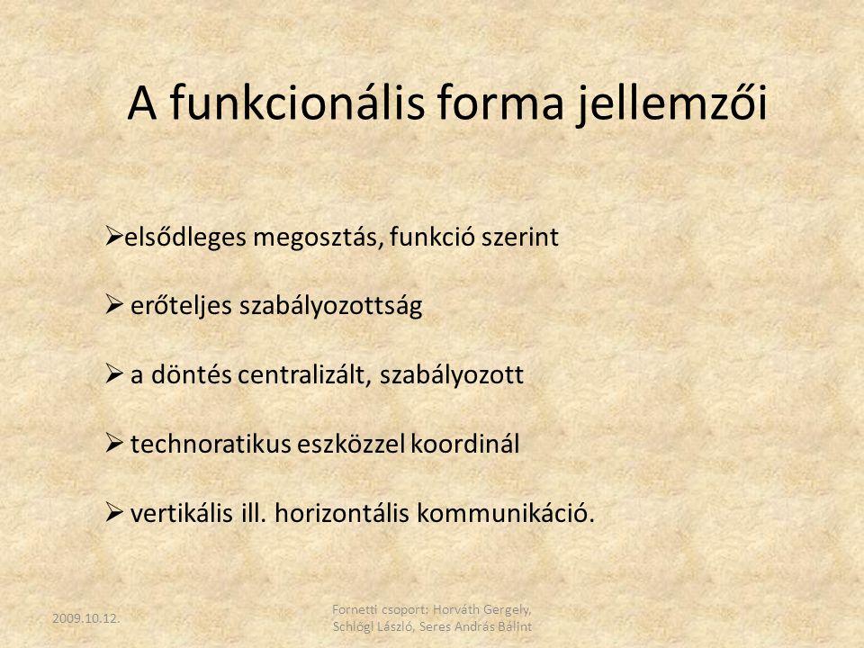 A funkcionális forma jellemzői