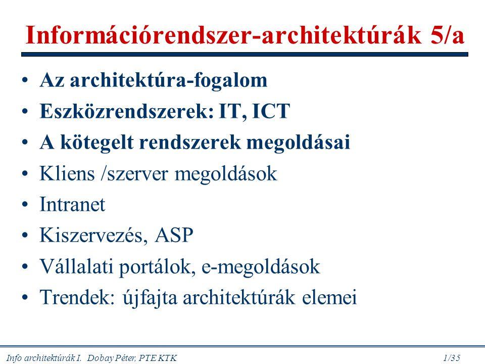 Információrendszer-architektúrák 5/a