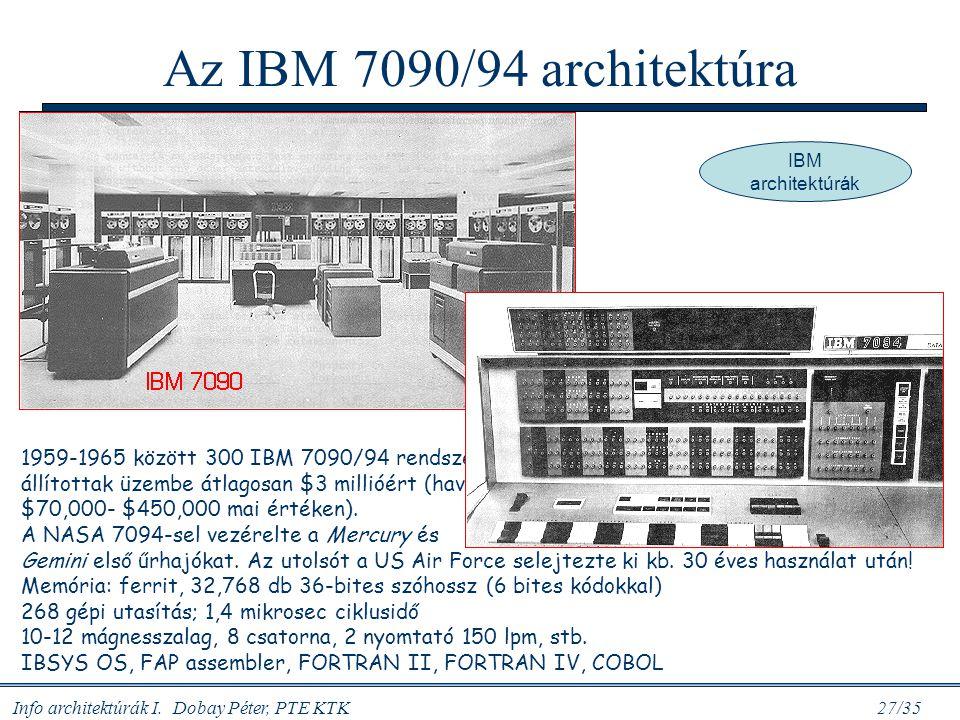 Az IBM 7090/94 architektúra IBM architektúrák.