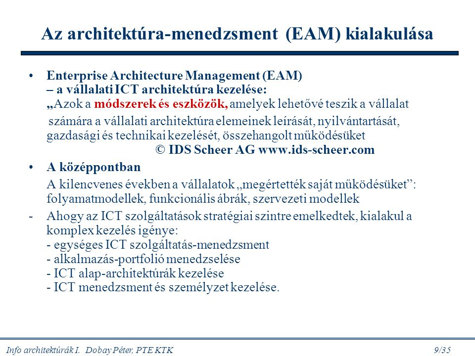Az architektúra-menedzsment (EAM) kialakulása