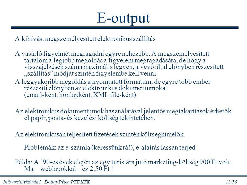 E-output A kihívás: megszemélyesített elektronikus szállítás