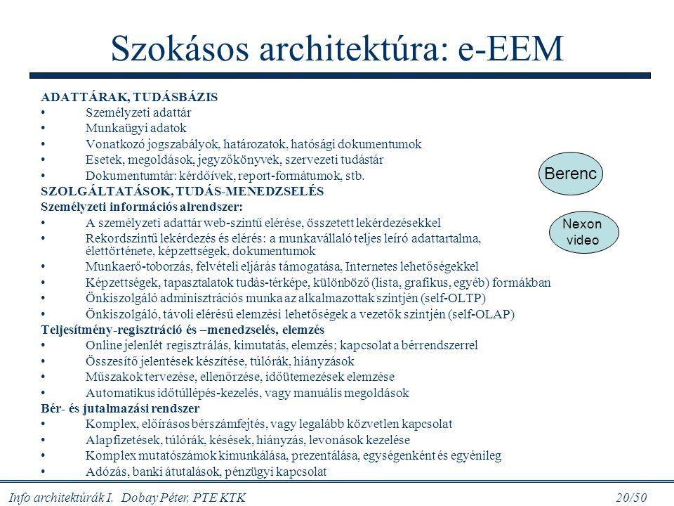 Szokásos architektúra: e-EEM