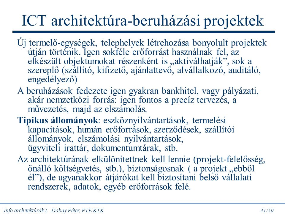 ICT architektúra-beruházási projektek