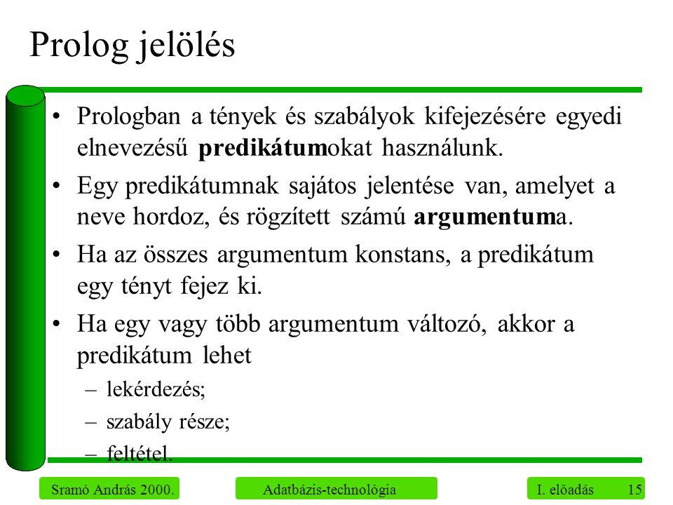 Prolog jelölés Prologban a tények és szabályok kifejezésére egyedi elnevezésű predikátumokat használunk.