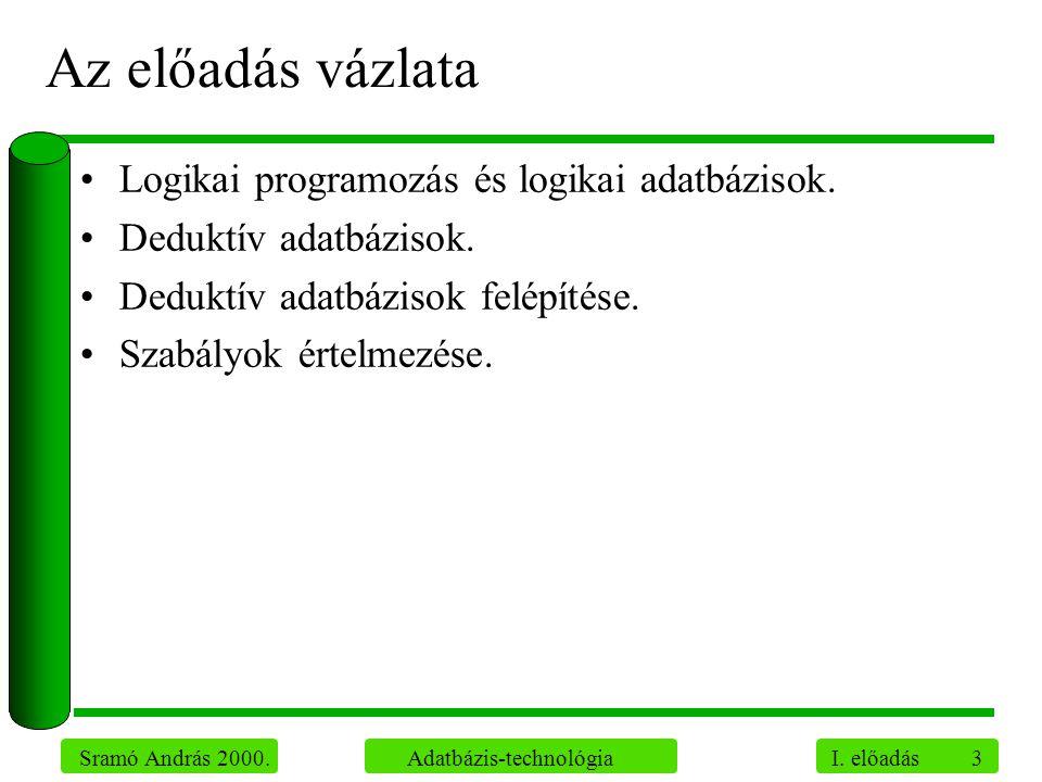 Az előadás vázlata Logikai programozás és logikai adatbázisok.
