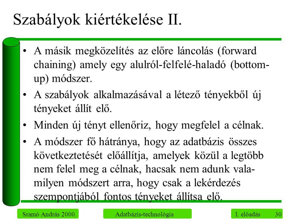 Szabályok kiértékelése II.