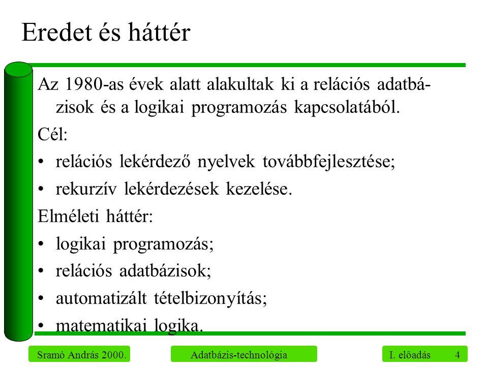 Eredet és háttér Az 1980-as évek alatt alakultak ki a relációs adatbá-zisok és a logikai programozás kapcsolatából.