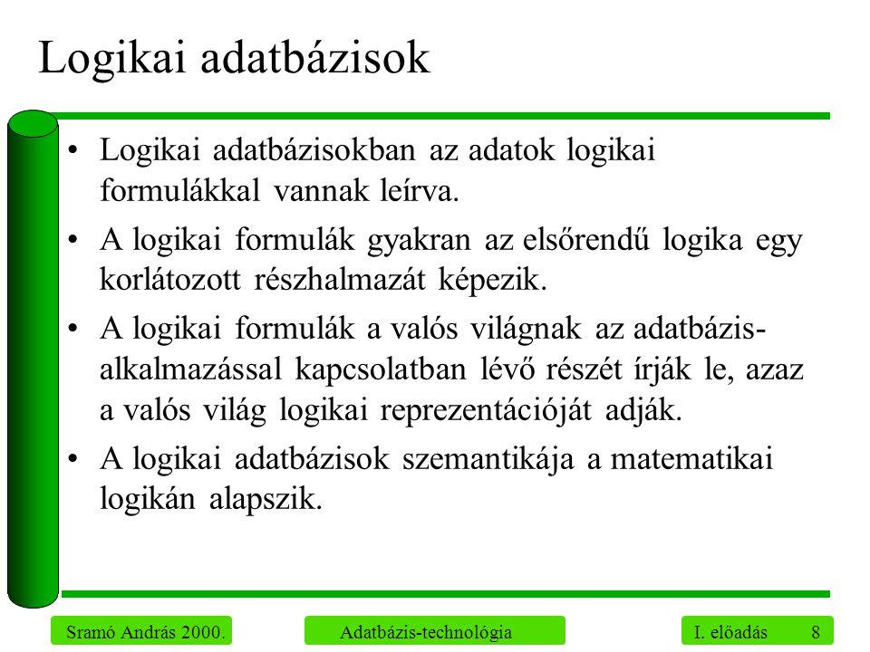 Logikai adatbázisok Logikai adatbázisokban az adatok logikai formulákkal vannak leírva.