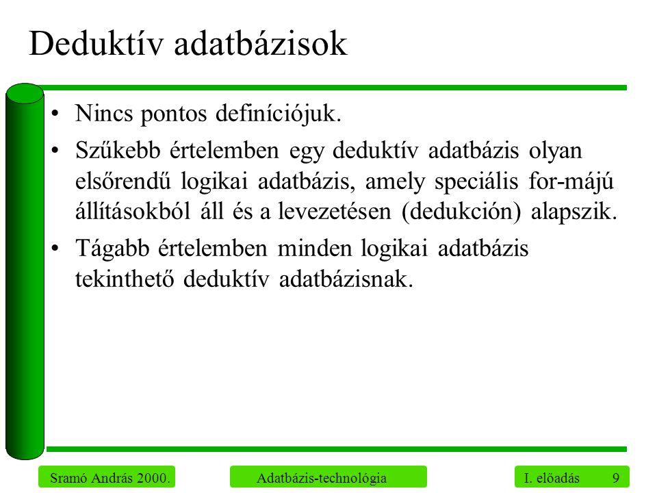 Deduktív adatbázisok Nincs pontos definíciójuk.