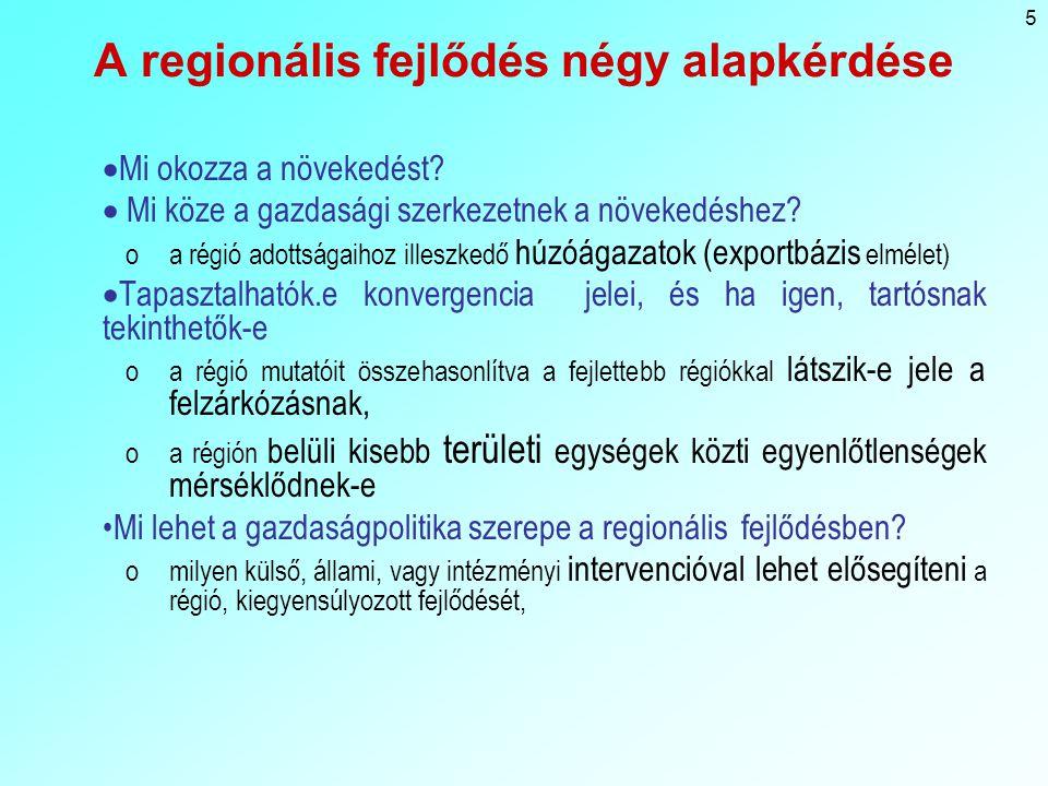A regionális fejlődés négy alapkérdése