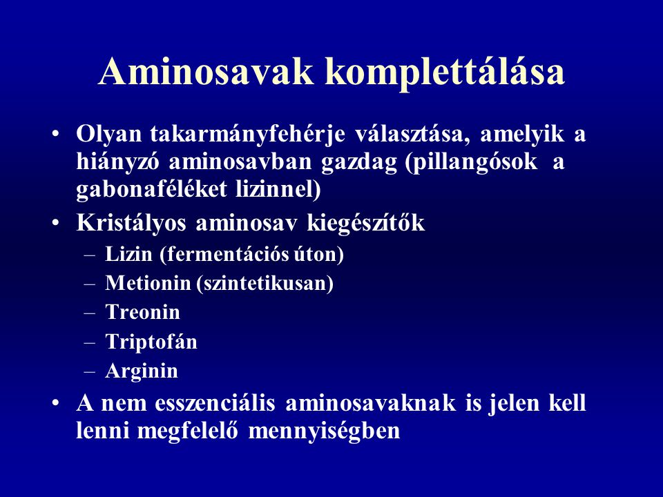 Aminosavak komplettálása