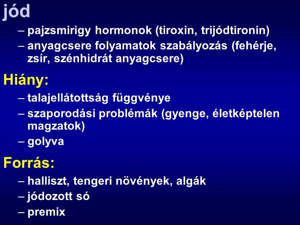 jód Hiány: Forrás: pajzsmirigy hormonok (tiroxin, trijódtironin)