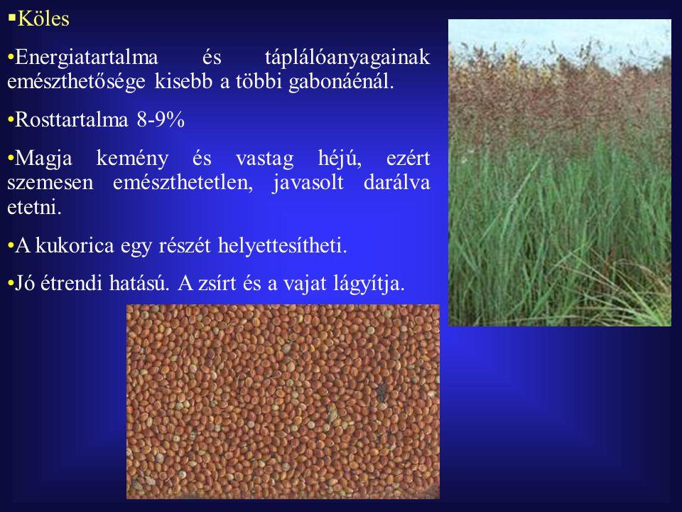 Köles Energiatartalma és táplálóanyagainak emészthetősége kisebb a többi gabonáénál. Rosttartalma 8-9%