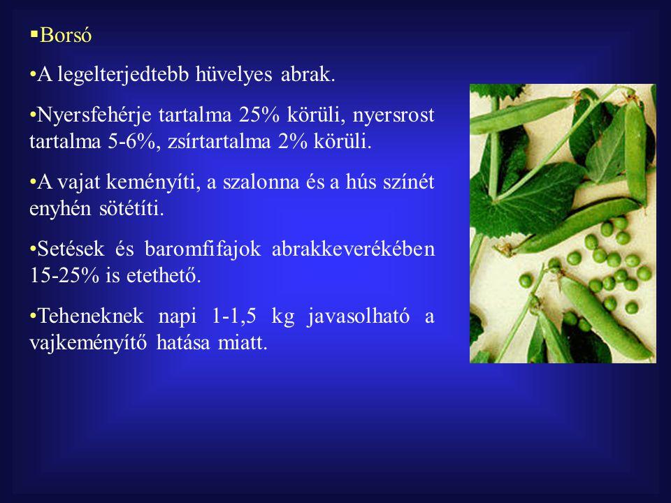Borsó A legelterjedtebb hüvelyes abrak. Nyersfehérje tartalma 25% körüli, nyersrost tartalma 5-6%, zsírtartalma 2% körüli.