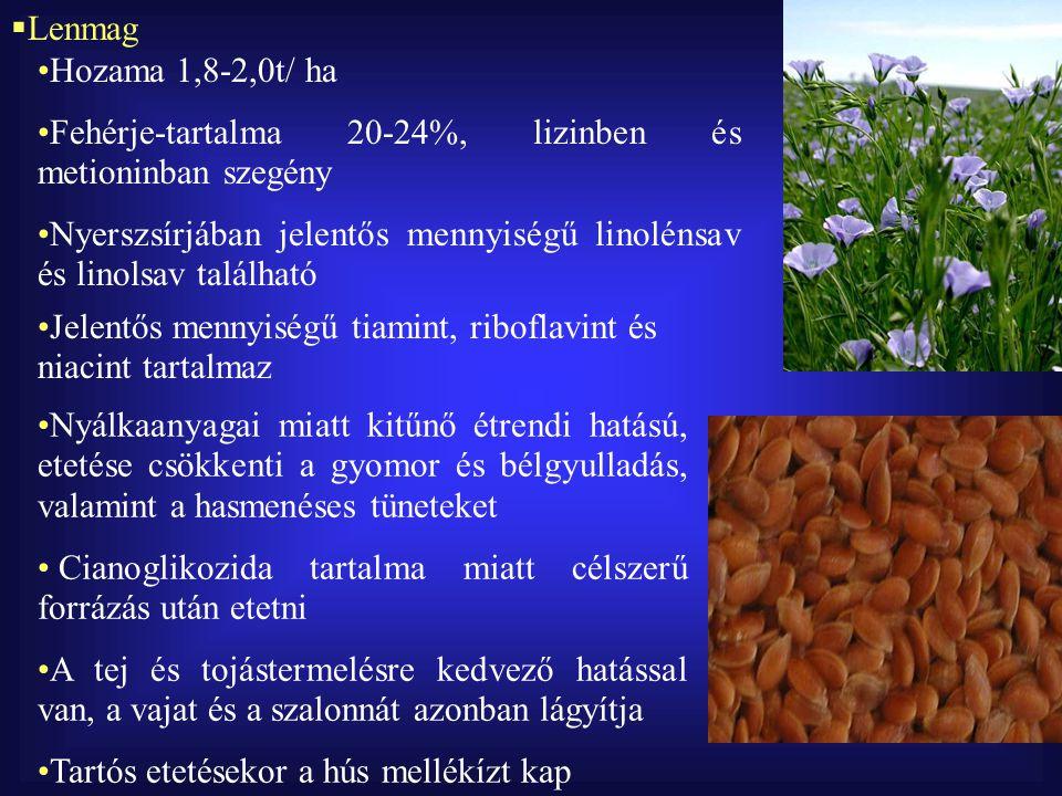 Lenmag Hozama 1,8-2,0t/ ha. Fehérje-tartalma 20-24%, lizinben és metioninban szegény.