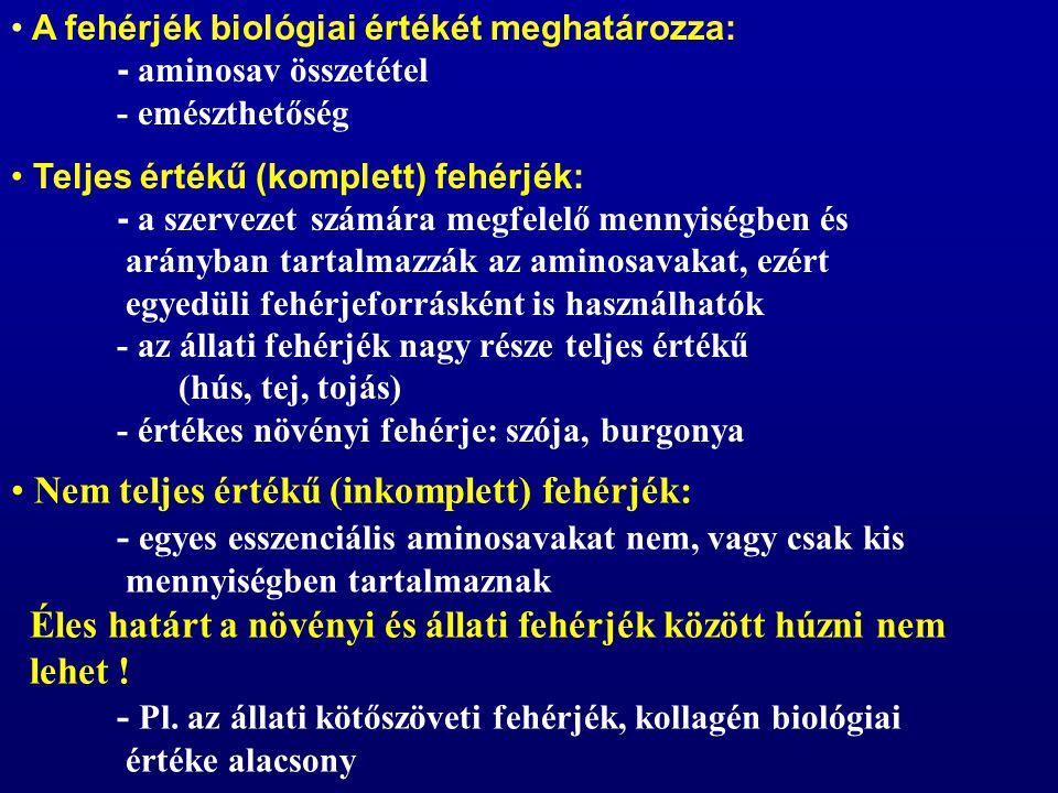 A fehérjék biológiai értékét meghatározza:. - aminosav összetétel