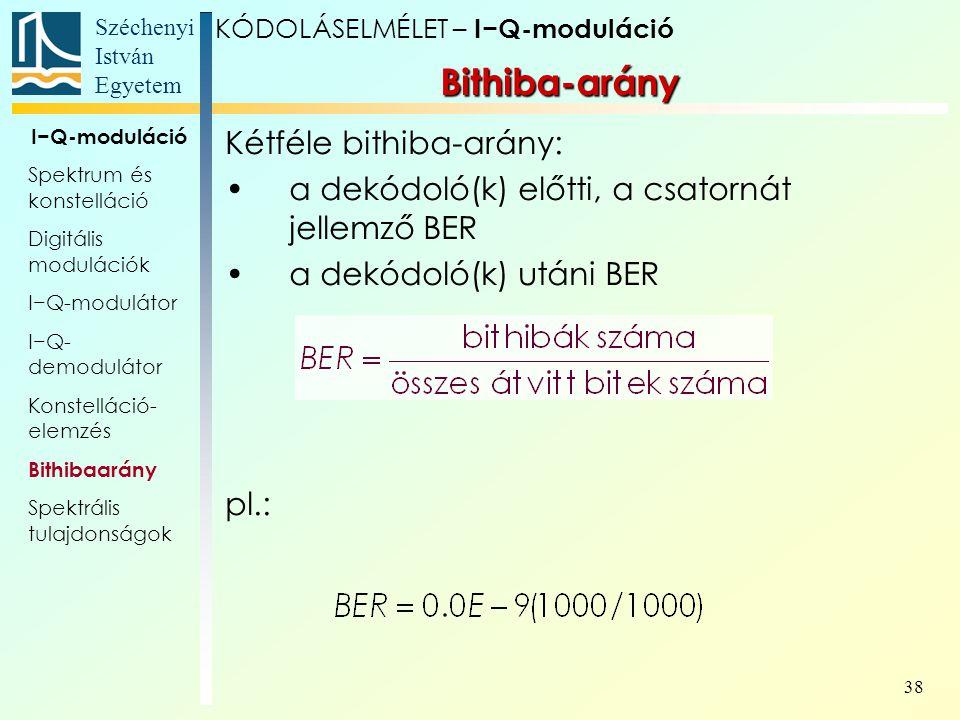 Bithiba-arány Kétféle bithiba-arány:
