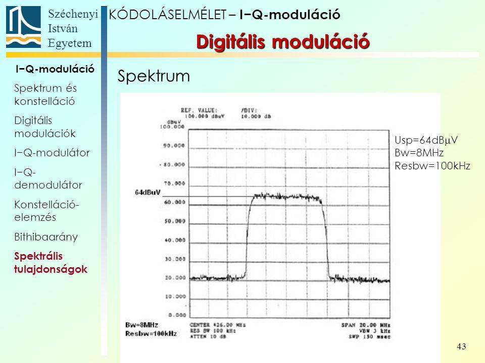 Digitális moduláció Spektrum KÓDOLÁSELMÉLET – I−Q-moduláció