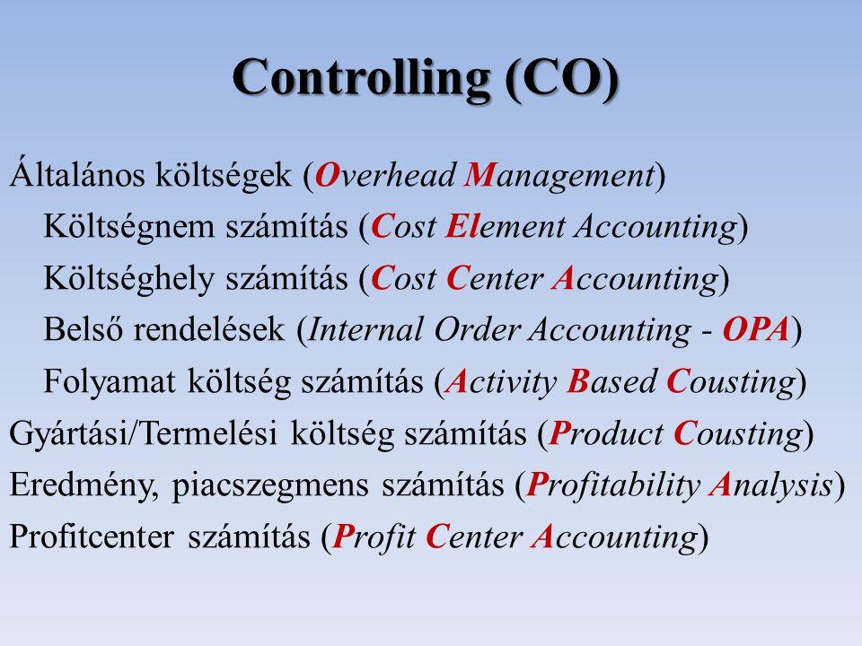 Controlling (CO) Általános költségek (Overhead Management)
