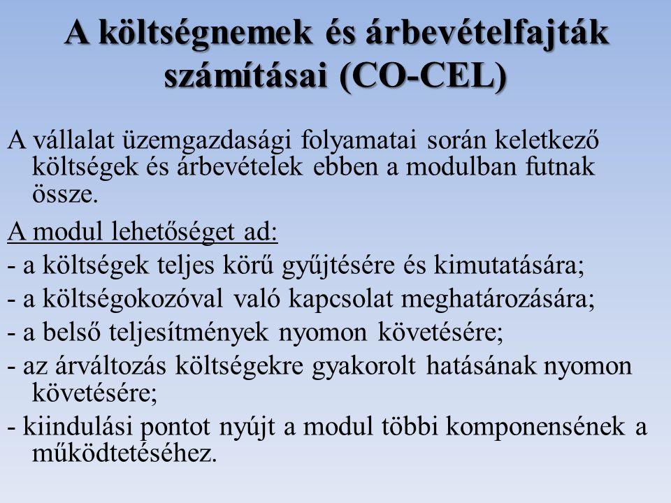 A költségnemek és árbevételfajták számításai (CO-CEL)