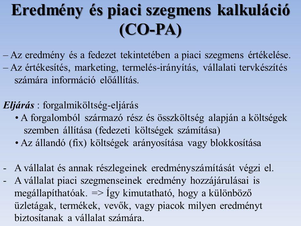 Eredmény és piaci szegmens kalkuláció (CO-PA)