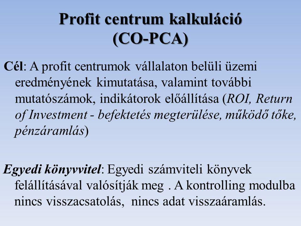 Profit centrum kalkuláció (CO-PCA)