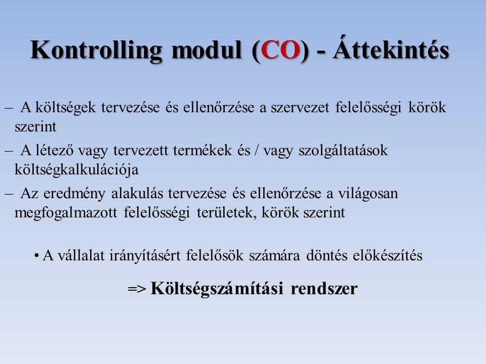 Kontrolling modul (CO) - Áttekintés