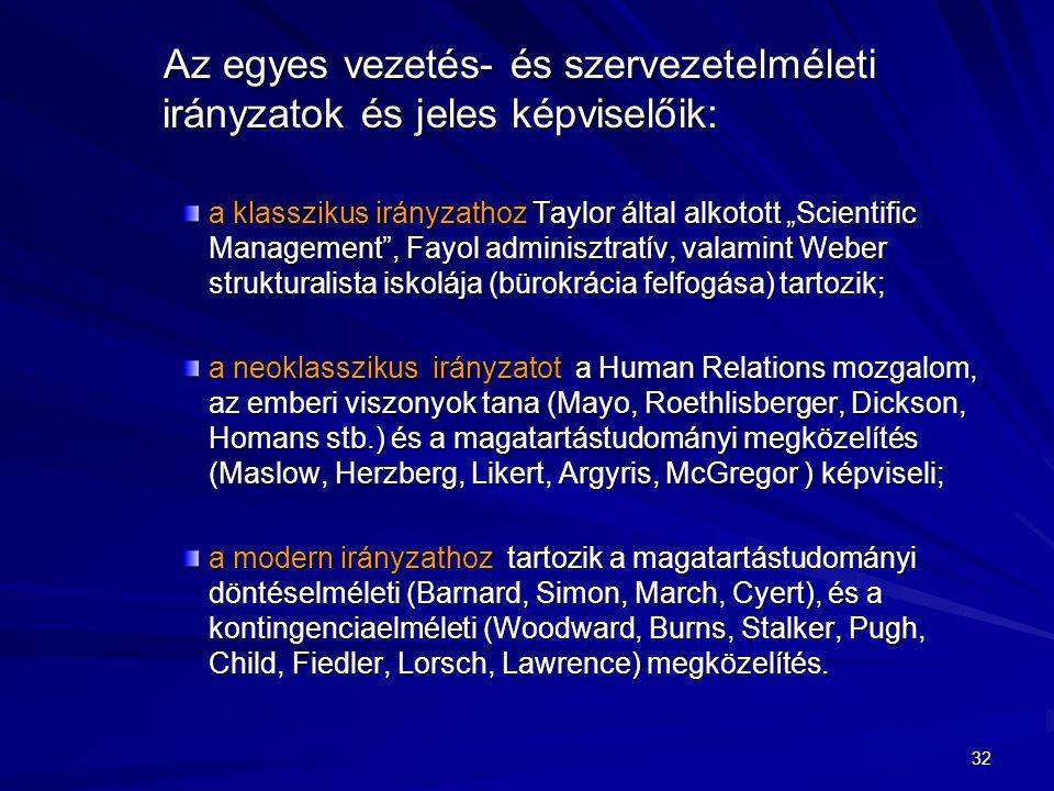 Az egyes vezetés- és szervezetelméleti irányzatok és jeles képviselőik:
