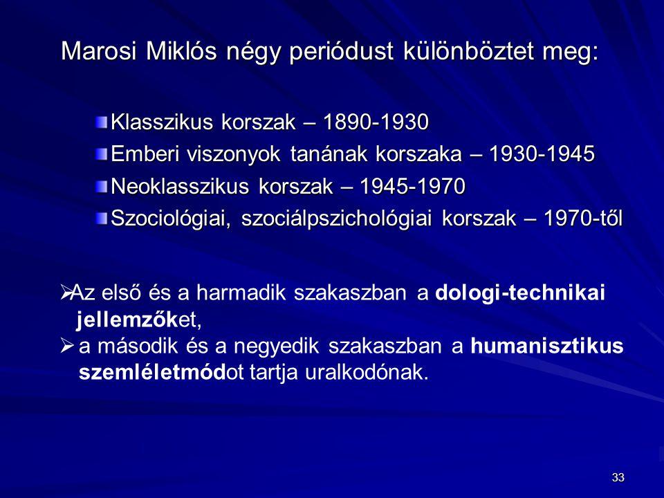 Marosi Miklós négy periódust különböztet meg: