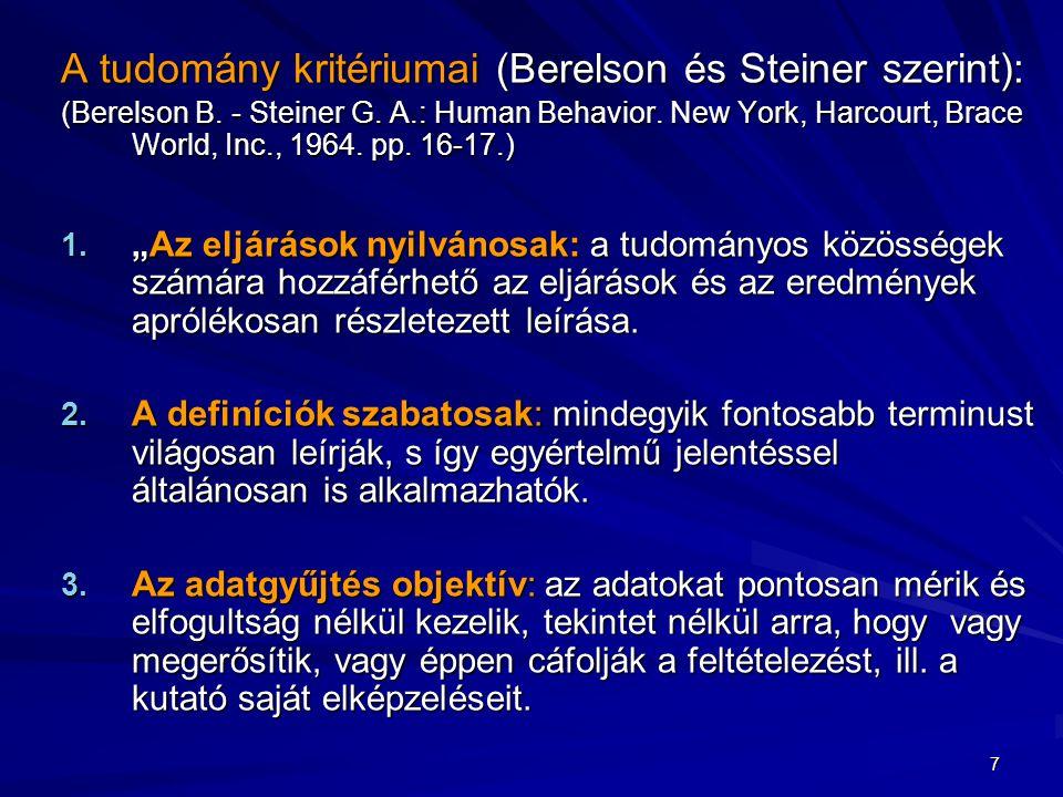 A tudomány kritériumai (Berelson és Steiner szerint):