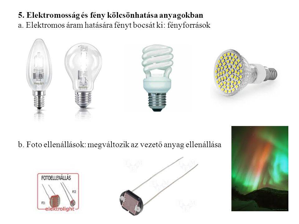 5. Elektromosság és fény kölcsönhatása anyagokban a