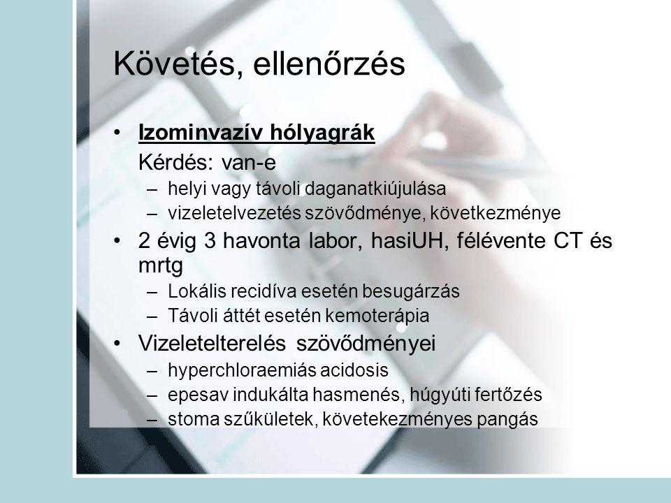Követés, ellenőrzés Izominvazív hólyagrák Kérdés: van-e