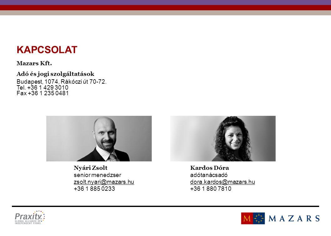 KAPCSOLAT Mazars Kft. Adó és jogi szolgáltatások