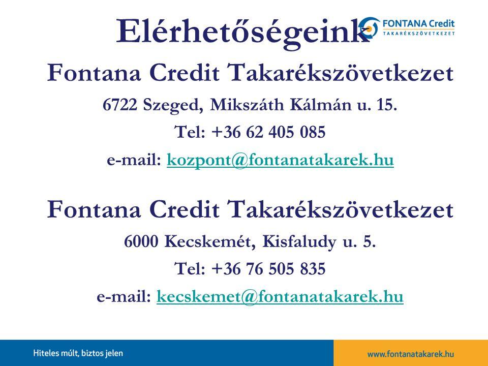 Elérhetőségeink Fontana Credit Takarékszövetkezet