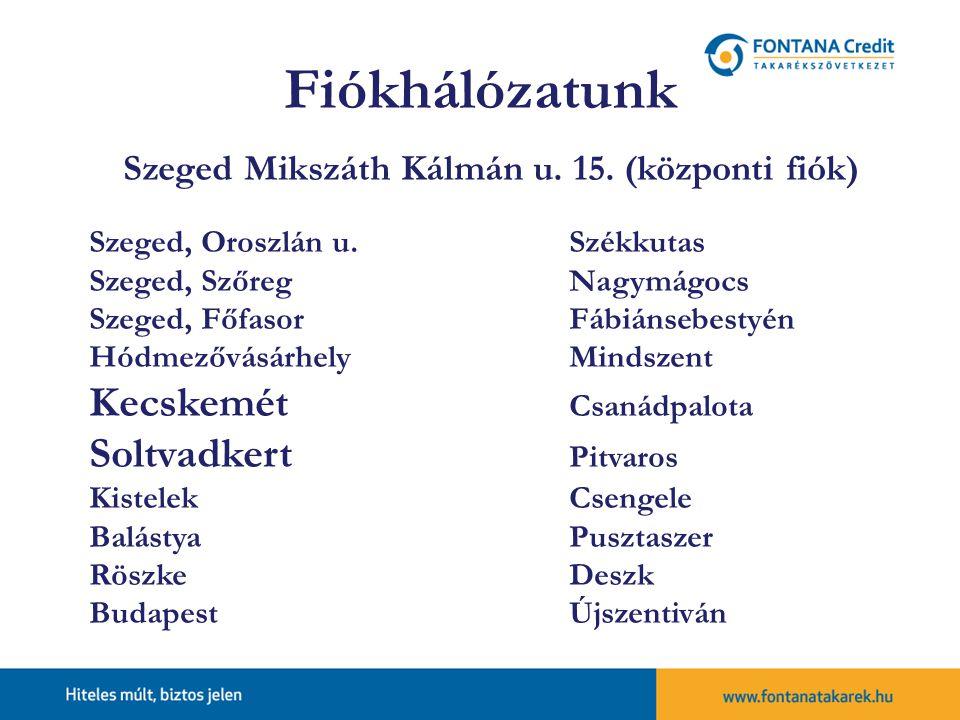 Szeged Mikszáth Kálmán u. 15. (központi fiók)
