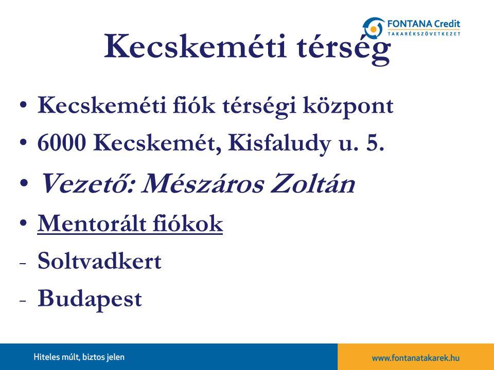 Kecskeméti térség Vezető: Mészáros Zoltán