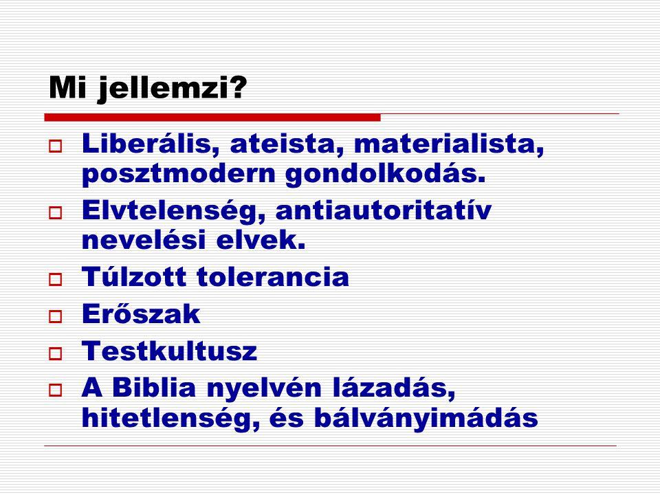 Mi jellemzi Liberális, ateista, materialista, posztmodern gondolkodás. Elvtelenség, antiautoritatív nevelési elvek.