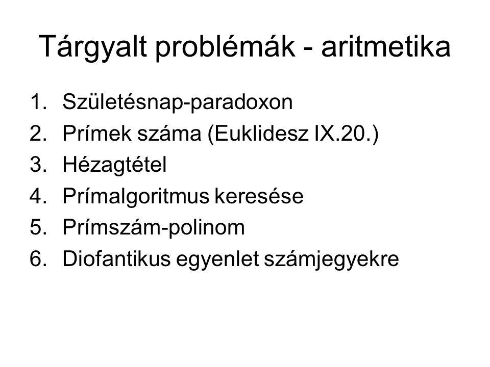 Tárgyalt problémák - aritmetika