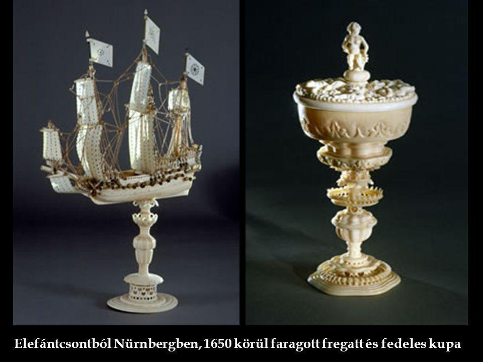 Elefántcsontból Nürnbergben, 1650 körül faragott fregatt és fedeles kupa