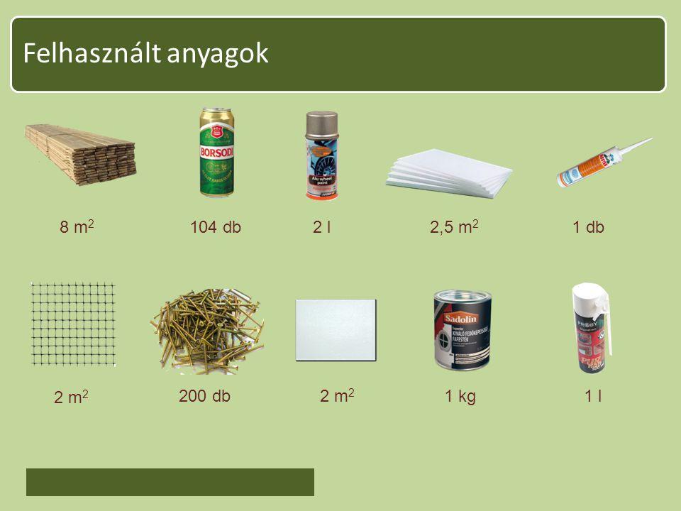 Felhasznált anyagok 8 m2 104 db 2 l 2,5 m2 1 db 2 m2 200 db 2 m2 1 kg