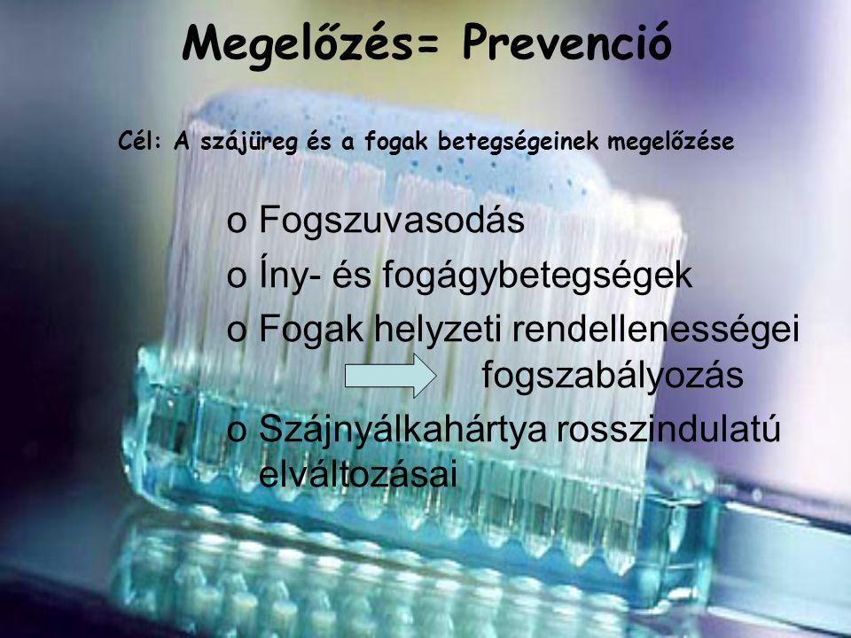 Megelőzés= Prevenció Cél: A szájüreg és a fogak betegségeinek megelőzése