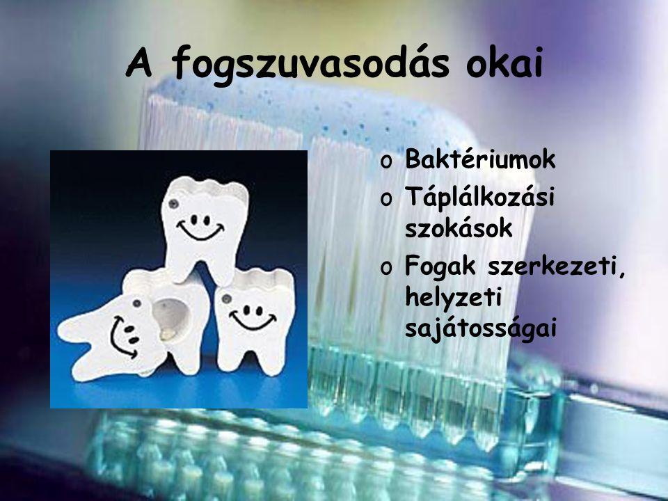 A fogszuvasodás okai Baktériumok Táplálkozási szokások