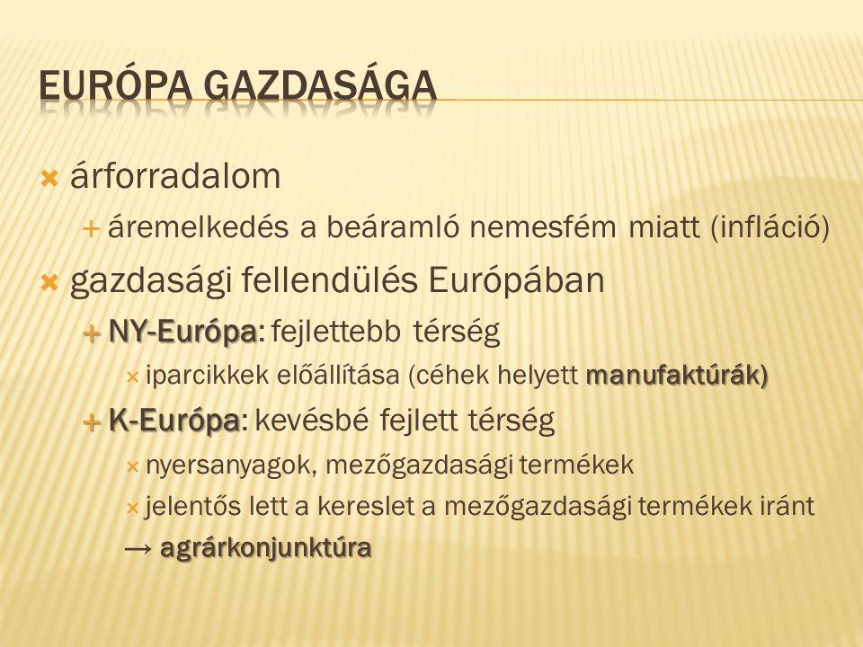 Európa gazdasága árforradalom gazdasági fellendülés Európában