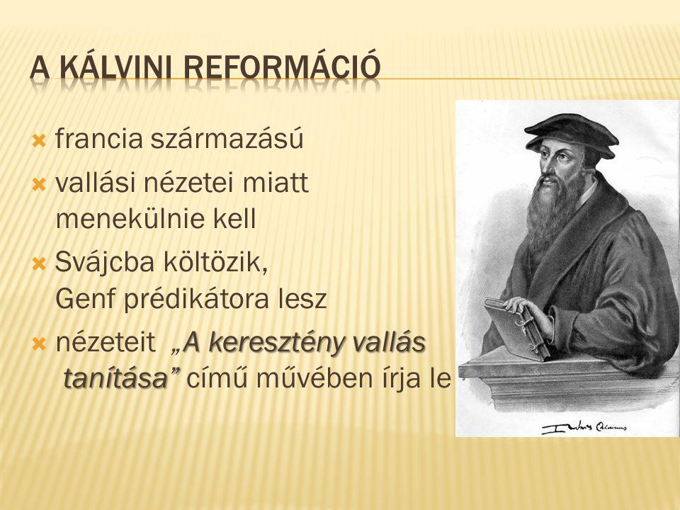 A kálvini reformáció francia származású