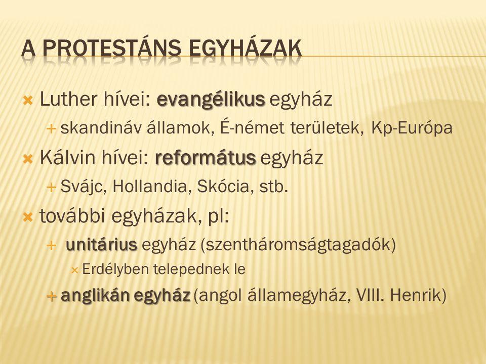 A protestáns egyházak Luther hívei: evangélikus egyház