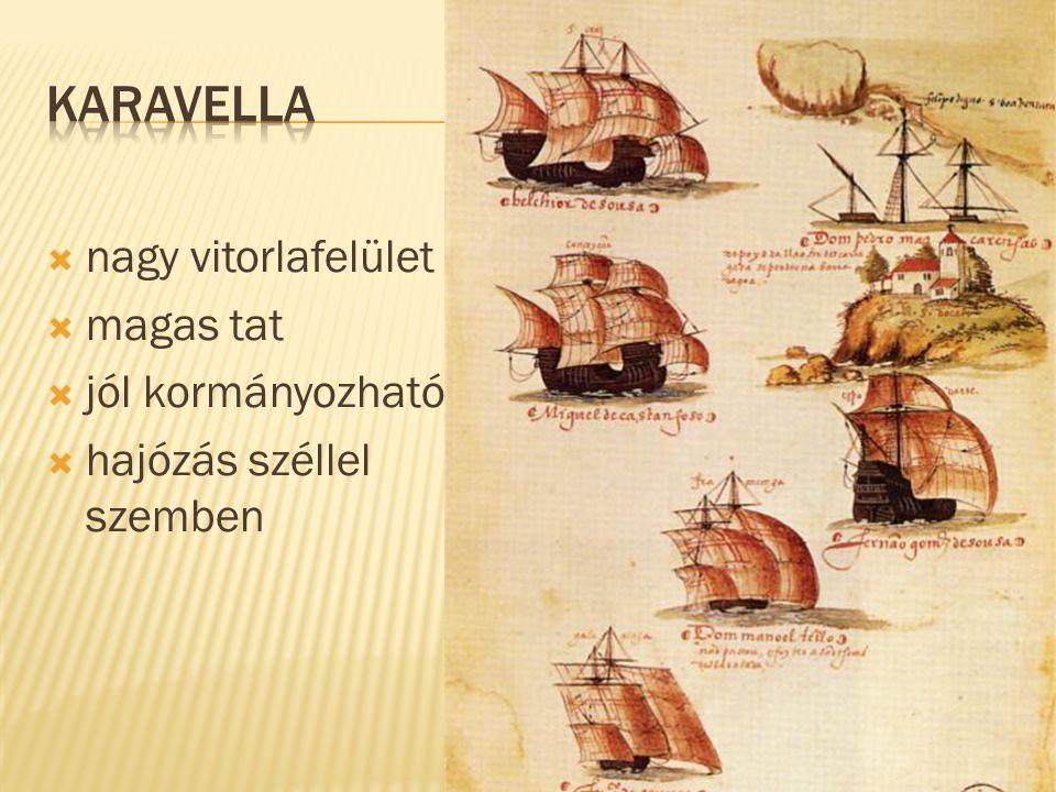 karavella nagy vitorlafelület magas tat jól kormányozható
