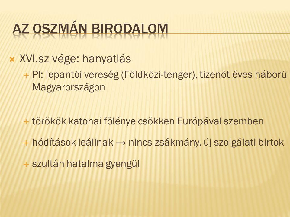 Az Oszmán Birodalom XVI.sz vége: hanyatlás