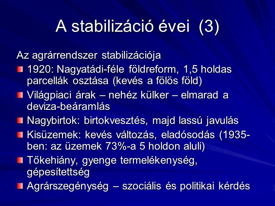 A stabilizáció évei (3) Az agrárrendszer stabilizációja