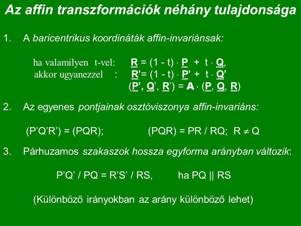Az affin transzformációk néhány tulajdonsága