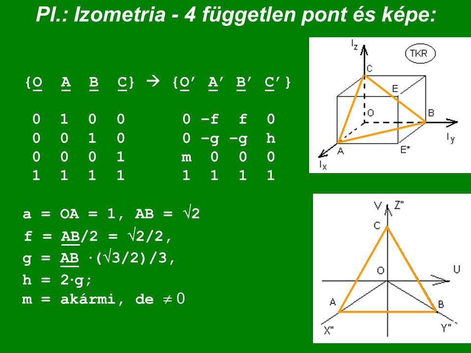 Pl.: Izometria - 4 független pont és képe: